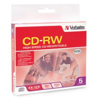 Verbatim 95157 High Speed - 5 x CD-RW - 700 MB ( 80min ) 4x - 12x - slim jewel case