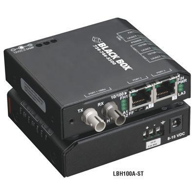 Black Box LBH100A-ST Media Converter Switch 10/100-Mbps Copper to 100-Mbps Fiber  115-VAC  Multimode  ST - Fiber media converter - Ethernet  Fast Ethernet - 10B