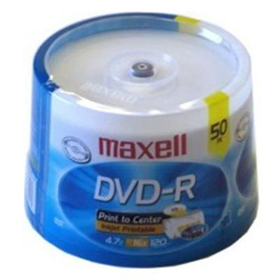 Maxell 638022 DVD-R 4.7GB 16x White InkJet Hub Printable Media - 50-Pack Spindle