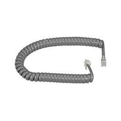 12Ft Modular Coiled Handset Cord - Dark Gray