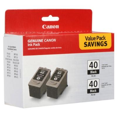 Canon 0615B013 PG-40 Black Twin Pack - 2-pack - black - original - ink tank - for FAX JX210 PIXMA iP1800 iP1900 iP2600 MP140 MP190 MP210 MP220 MP470 MX