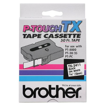 Brother TX-2411 TX2411 - Black on white - Roll (0.7 in x 50 ft) 1 roll(s) laminated tape - for P-Touch PT-30  PT-35  PT-8000  PT-PC