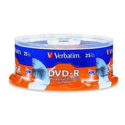 Verbatim 96191 25 x DVD-R - 4.7 GB 16x - white - ink jet printable surface printable inner hub - spindle