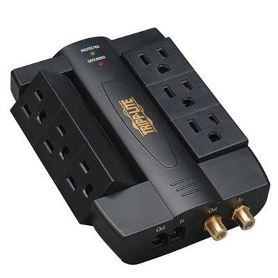 Tripplite Htswivel6 Home Theater Surge Wallmount Direct Plug Swivel Rj11 Coax Surge Protector Ac 120 V Output Connectors: 6
