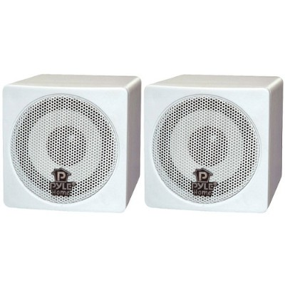 Pyle Pcb3wt 3'' 100 Watt White Mini Cube Bookshelf Speaker In White - Pair