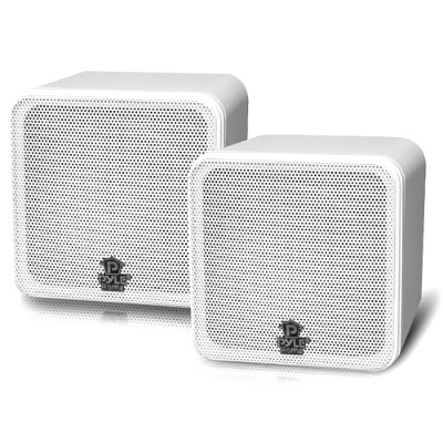 Pyle PCB4WT 4'' 200 Watt White Mini Cube Bookshelf Speaker In White - Pair