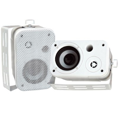 Pyle PDWR30W 3.5'' Indoor/Outdoor Waterproof On-Wall Speakers - White  Pair