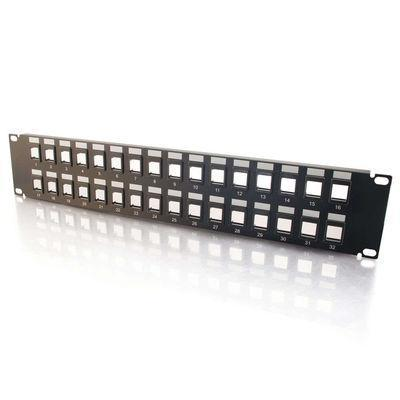 Cables To Go 03857 12-Port Blank Keystone/Multimedia Patch Pane - Patch panel - black - 1U - 19 - 12 ports