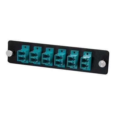 Cables To Go 31114 Q-Series Fiber Distribution System 12-STRAND  LC DUPLEX  PB INSERT  MM  AQUA LC - Patch panel adapter - aqua