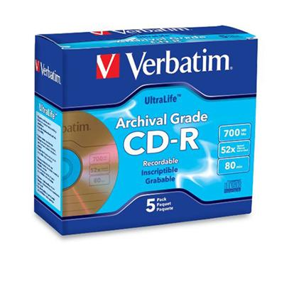Verbatim 96319 Archival Grade CD-R 80MIN 700MB 52X 5pk Jewel Case