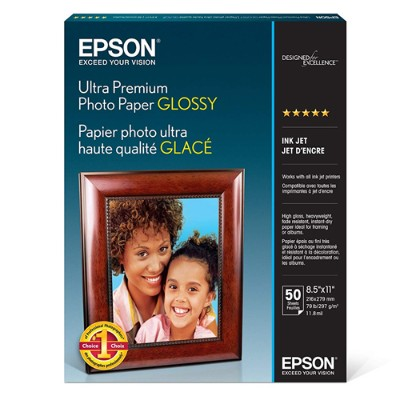 Epson S042175 Ultra Premium Glossy Photo Paper - Photo paper - glossy - 11.8 mil - Letter A Size (8.5 in x 11 in) 50 sheet(s) - for Expression ET-3600  Expressi