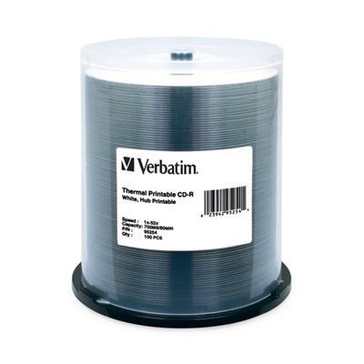 Verbatim 95254 CD-R 700MB 52X White Thermal Printable  Hub Printable - 100pk Spindle