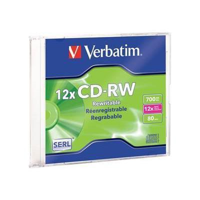 Verbatim 95161 1 x CD-RW - 700 MB (80min) 4x - 12x - slim jewel case - storage media