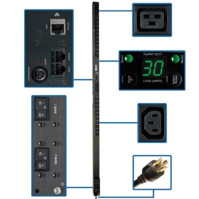 TrippLite PDUMV30HVNET PDU Metered Vertical 5/5.8kW 208/240V 30A (20 C13 & 4 C19) L6-30P 10ft Cord 0URM TAA GSA