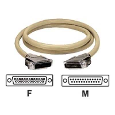 Black Box EBN25C-0005-MF ED/Q with Die-Cast Removable Metallic EMI/RFI Hoods - Serial cable - DB-25 (F) to DB-25 (M) - 5 ft - stranded