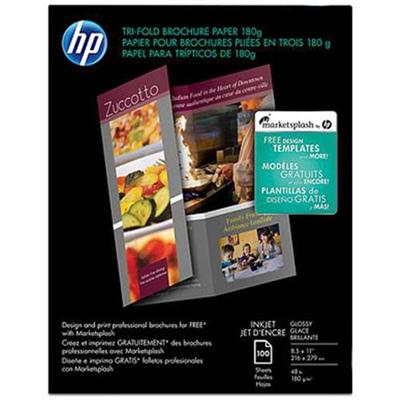 HP Inc. C7020A Inkjet Glossy Tri-fold Brochure Paper - 8.5 x 11 in (100 sheets)
