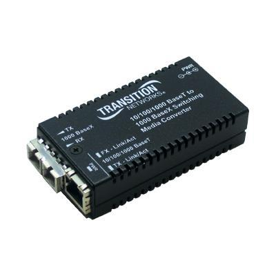 Transition M\/GE-PSW-SX-01 Stand-Alone - Media converter - 10Base-T 1000Base-SX 100Base-TX 1000Base-T - RJ-45 - SC multi-mode - external - up to 1800 ft - 850
