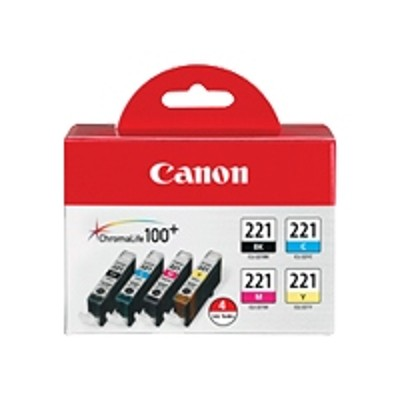 Canon 2946B004 CLI-221 4 Color Pack - 4-pack - 9 ml - black  yellow  cyan  magenta - original - ink tank - for PIXMA iP3600  iP4600  iP4700  MP560  MP