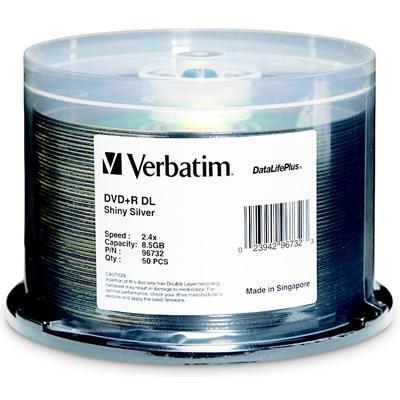Verbatim 96732 DVD+R DL 8.5GB 2.4X DataLifePlus Shiny Silver 50pk Spindle