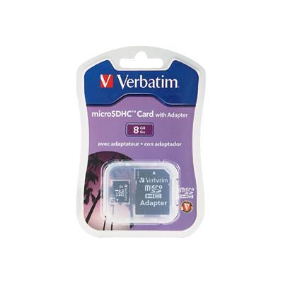 Verbatim 96807 Flash memory card (microSDHC to SD adapter included) - 8 GB - microSDHC - for P/N: 97705  97706  97709
