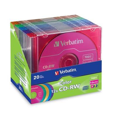 Verbatim 96685 Color - 20 x CD-RW - 700 MB (80min) 4x - 12x - blue  yellow  purple  green  pink - slim jewel case