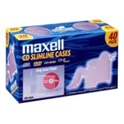 Maxell 190074 CD 365 - Storage CD slim jewel case (pack of 40 )