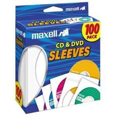 Maxell 190133 CD/DVD sleeve - white (pack of 100 )