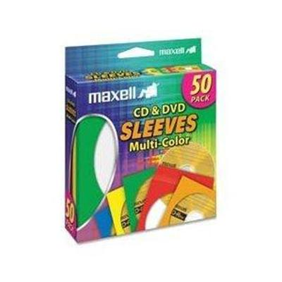 Maxell 190134 CD/DVD sleeve - capacity: 1 CD/DVD - multicolor (pack of 50 )