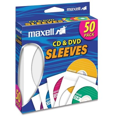 Maxell 190135 CD/DVD Sleeves - White (50 sleeves)