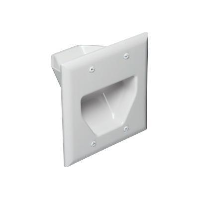 Datacomm Electronics 45-0002-wh Recessed Low Voltage Cable Plates - Wall Plate - White - 2-gang