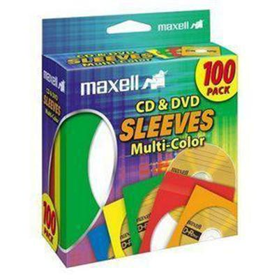 Maxell 190132 CD/DVD sleeve - capacity: 1 CD/DVD - multicolor (pack of 100 )