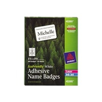 Avery Dennison 45395 EcoFriendly Name Badge - Name badge labels - white - 2.4 in x 3.3 in 400 label(s) ( 50 sheet(s) x 8 )