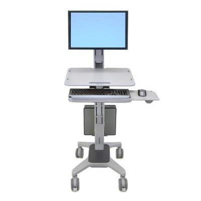 Ergotron 24-198-055 WorkFit C-Mod Single Display Sit-Stand Workstation - Cart for LCD display / keyboard / mouse / CPU - plastic  aluminum  steel - two-tone gra