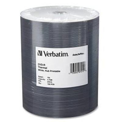 Verbatim 97015 DVD-R 4.7GB 16X DataLifePlus White Thermal Hub Printable 100pk Wrap