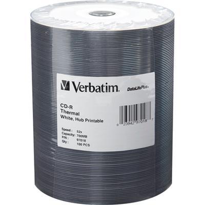 Verbatim 97018 DataLifePlus - 100 x CD-R - 700 MB (80min) 52x - white - thermal transfer printable surface  printable inner hub - spindle