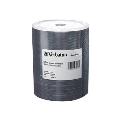 Verbatim 97019 DataLifePlus - 100 x CD-R - 700 MB ( 80min ) 52x - white - ink jet printable surface  printable inner hub - spindle