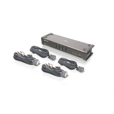 Iogear GCS1104 4-Port DVI KVMP Switch with Audio and Cables