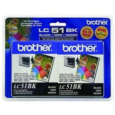 Brother LC51BK2PKS LC51BK - 2-pack - black - original - ink cartridge - for  DCP-130  330  350  540  MFC-230  3360  440  465  5460  5860  665  685  845  885