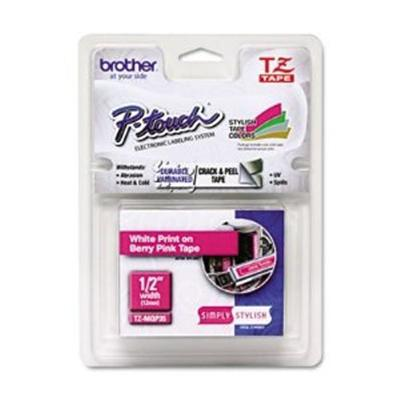 TZMQP35 - Laminated tape - white on berry pink - Roll (0.5 in x 16.4 ft) - 1 roll(s)