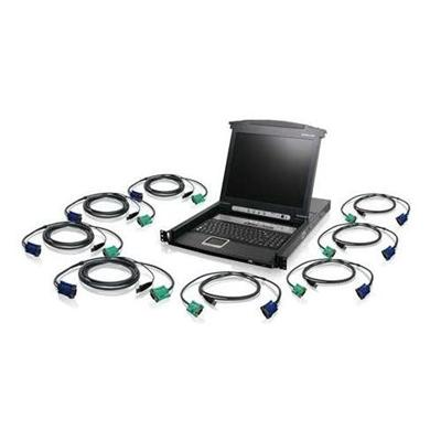 Iogear GCL1808KITU 8-Port LCD Combo KVM Switch with USB KVM Cables