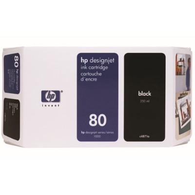 HP Inc. C4871A 80 - 350 ml - black - original - ink cartridge - for DesignJet 1050c  1050c plus  1055cm  1055cm plus