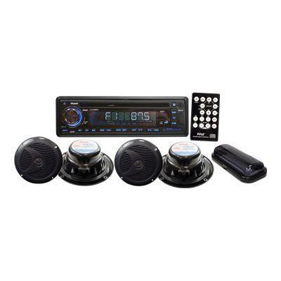 Pyle PLCD4MRKT Stereo Radio Headunit Receiver & Speaker Kit  Aux (3.5mm) MP3 Input  USB Flash & SD Card Readers  CD Player  Remote Control  Includes (4) Waterpr