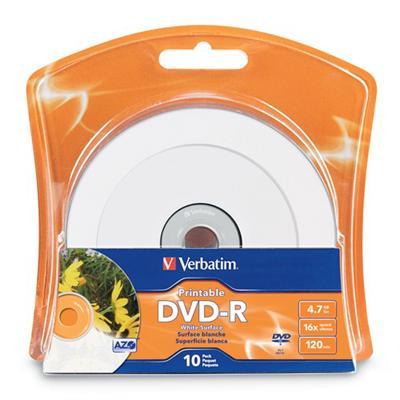 Verbatim 96936 Printable - 10 x DVD-R - 4.7 GB ( 120min ) 16x - white - ink jet printable surface - blister