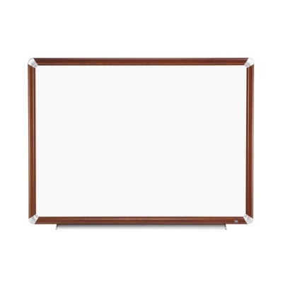 3M P4836FMY Porcelain Dry Erase Board  Magnetic  Mahogany Finish Frame 48 in x 36 in