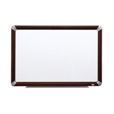 3M M9648FMY Melamine Dry Erase Board  Mahogany Finish Frame 96 in x 48 in