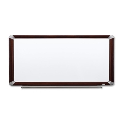 3M P9648FMY Porcelain Dry Erase Board  Magnetic  Mahogany Finish Frame 96 in x 48 in
