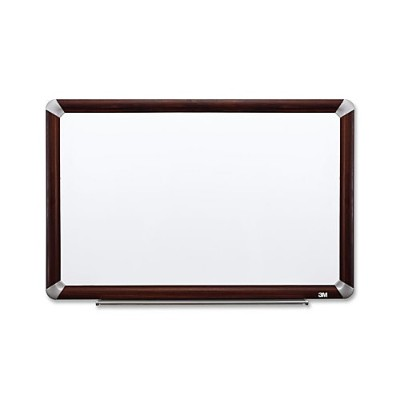 3M P7248FMY Porcelain Dry Erase Board  Magnetic  Mahogany Finish Frame 72 in x 48 in