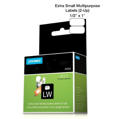 Dymo 30333 LabelWriter MultiPurpose - 2-up permanent adhesive labels - black on white - 0.5 in x 1 in 1000 label(s) ( 1 roll(s) x 1000 ) - for  Desktop Mailing