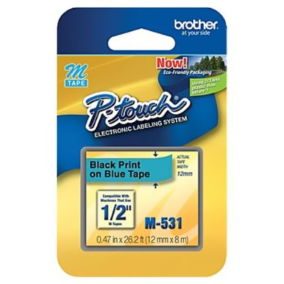 Brother M531 1/2 Black on Blue Non-Laminated Tape for P-Touch