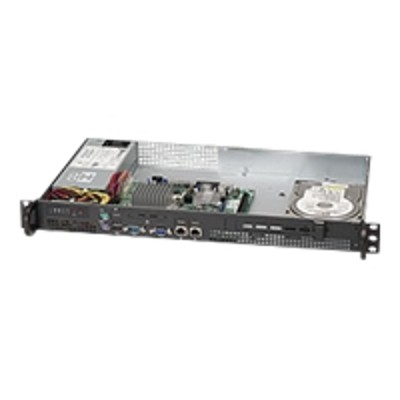 Super Micro CSE-503L-200B Supermicro SC503 L-200B - Rack-mountable - 1U - micro ATX 200 Watt - black